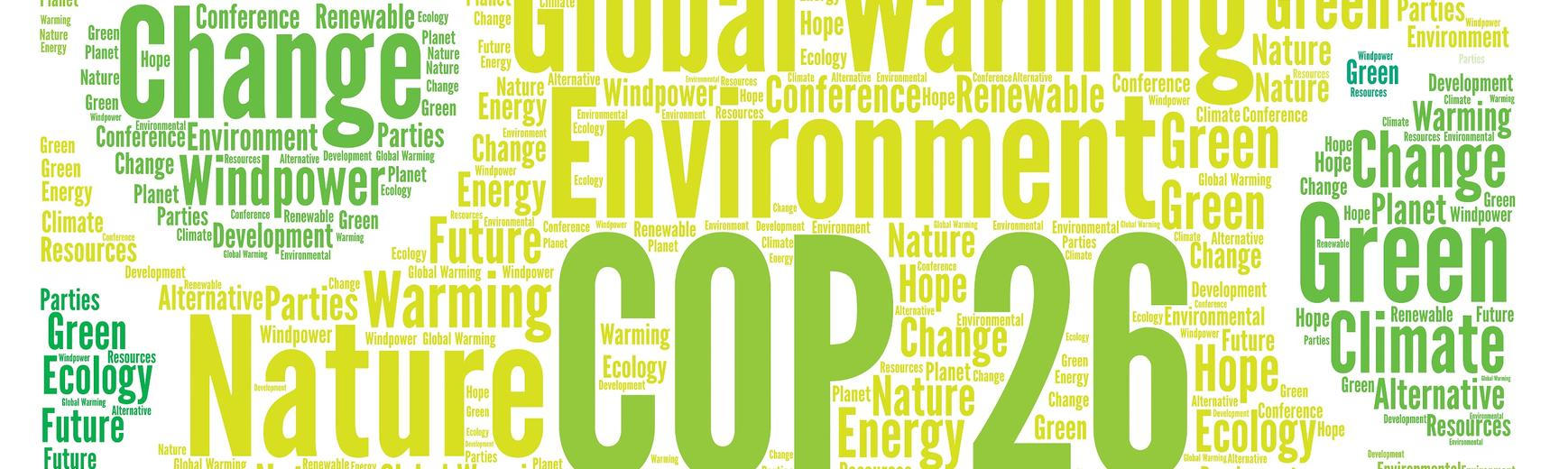 Word cloud in shades of green with 'COP26' in centre surrounded by words such as 'conference', 'change', 'global warming', 'nature', 'environment', 'Glasgow'