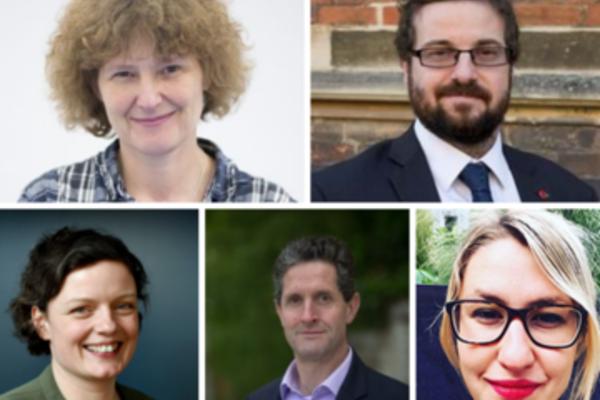 Collage image featuring photos of Professor EJ Milner-Gulland, Professor Myles Allen, Harriet Waters, Dr David Wallom and Kaya Axelsson