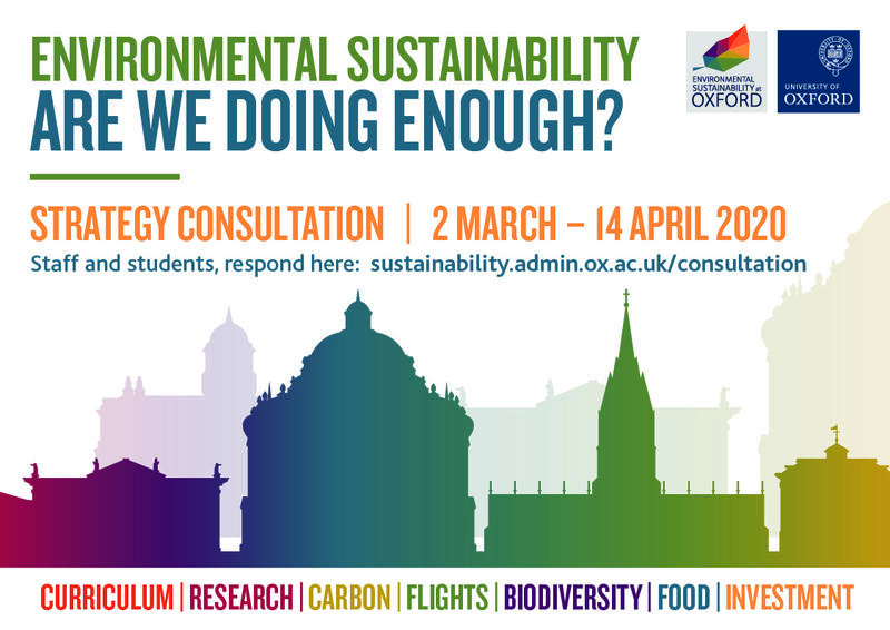 Poster with a graphic of the Oxford skyline and the words 'Environmental Sustainability; Are we doing enough?; Strategy Consultation; 2 March - 14 April 2020'