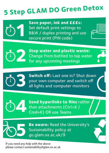 Infographic titled '5 Step GLAM DO Green Detox' with tips including save paper, stop water and plastic waste, switch off, and send hyperlinks to files rather than attachments.