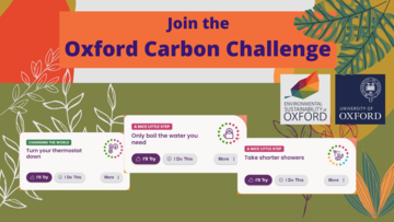 """Join the Oxford Carbon Challenge. Suggested steps to take for each """"I'll try"""" button and """"I do this"""": turn your thermostat down, only boil the water you need, take shorter showers."""