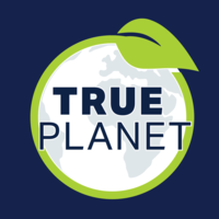Logo with image of Earth and a leaf, with words 'True Planet'