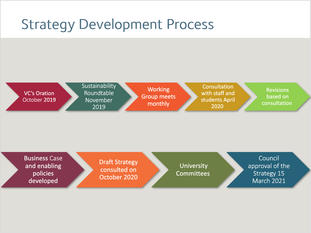 Flowchart demonstrating the 9-step strategy development process from VC's Oration October 2019 to Council approval of the Strategy 15 March 2021